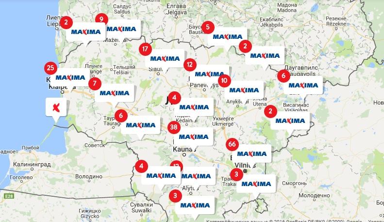 Магазины Maxima на карте Литвы